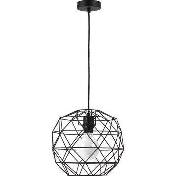 Suspension Design Crystal métal noir 1 x 60 W MATHIAS