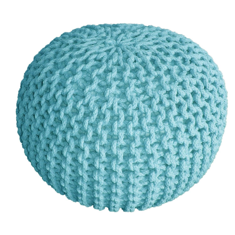 pouf tricot bleu x cm leroy merlin. Black Bedroom Furniture Sets. Home Design Ideas