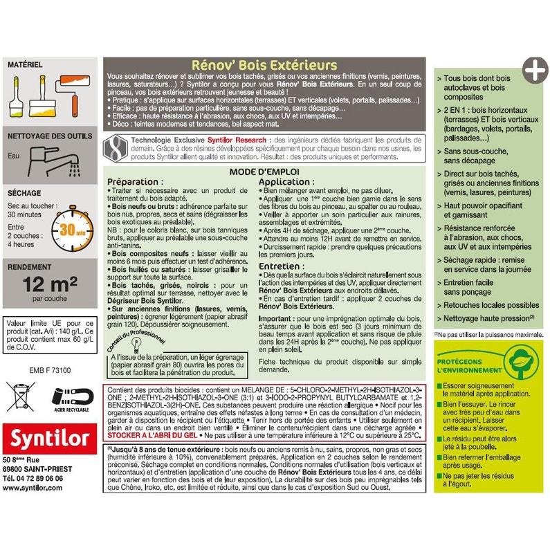 Blanc Renovateur SYNTILOR Renov Bois Syntilor 5l 5 L