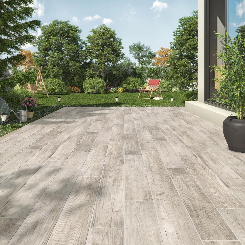carrelage sol ext rieur forte effet bois blanc barbeuk l. Black Bedroom Furniture Sets. Home Design Ideas