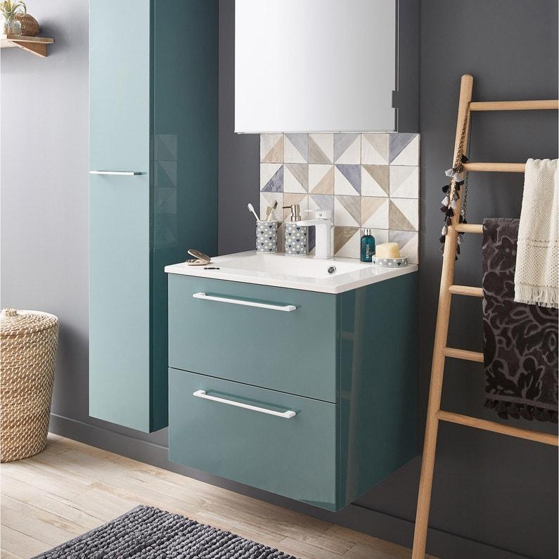 Meuble de salle de bains l.60 x H.58 x P.46 cm, vert laguna, Remix ...