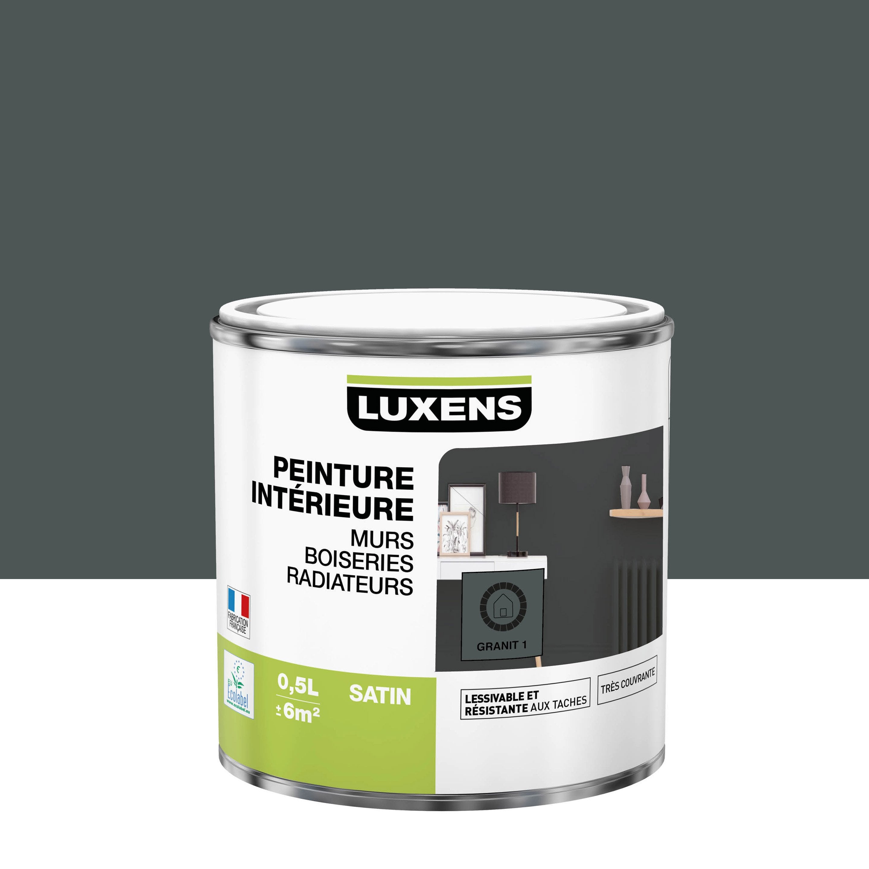 Peinture mur, boiserie, radiateur Multisupports LUXENS, granit 1, 0.5 l, satin
