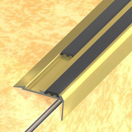 Nez de marche aluminium anodis dor x l 4 cm for Nez de marche carrelage leroy merlin