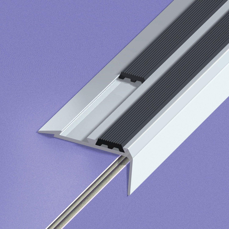 nez de marche aluminium anodis gris x l 4 cm. Black Bedroom Furniture Sets. Home Design Ideas
