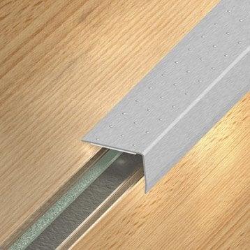 Nez de marche inox gris L.110 x l.3.6 cm