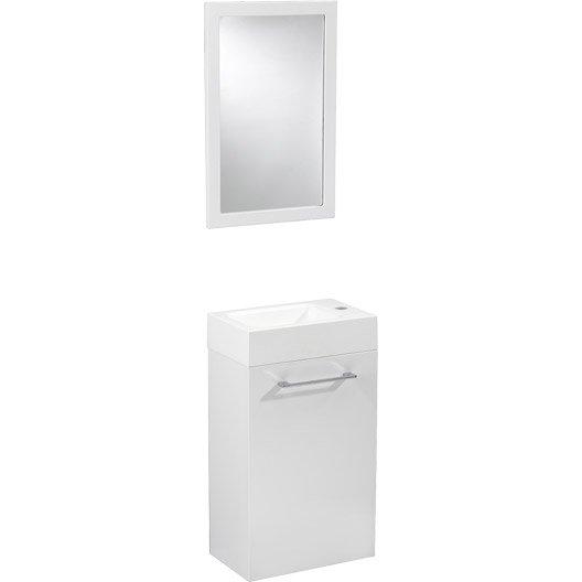 Meuble lave-mains avec miroir Blanc-Blanc n°0, SENSEA Remix ...