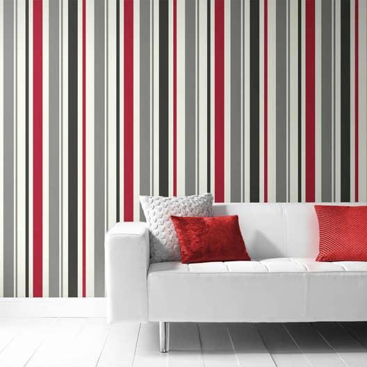 Papier peint intissé Rayure rouge | Leroy Merlin