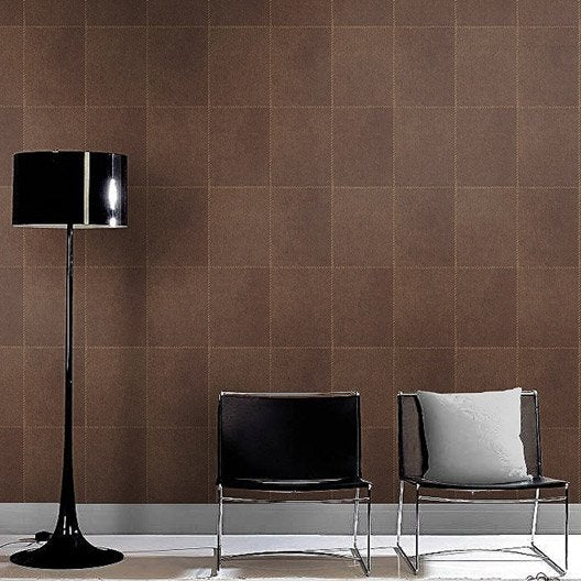 papier peint intiss damier peau marron leroy merlin. Black Bedroom Furniture Sets. Home Design Ideas