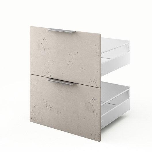 2 tiroirs de cuisine d cor b ton 2d60 loft l60 x h70 x - Loft beton cire leroy merlin ...
