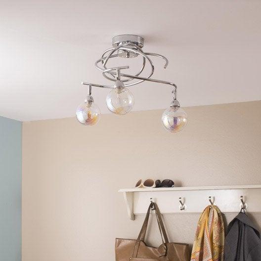 plafonnier 3 spots sans ampoule 3 x g9 chrome chroma verrerie shiga inspire leroy merlin. Black Bedroom Furniture Sets. Home Design Ideas