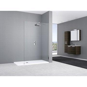 Paroi de douche à l'italienne, l.135 cm verre transparent 8 mm Elisea