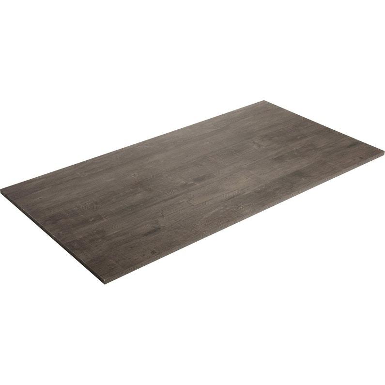 Plateau De Table Aggloméré Planche Usée Noire Spaceo L160 X L80 Cm X Ep22 Mm