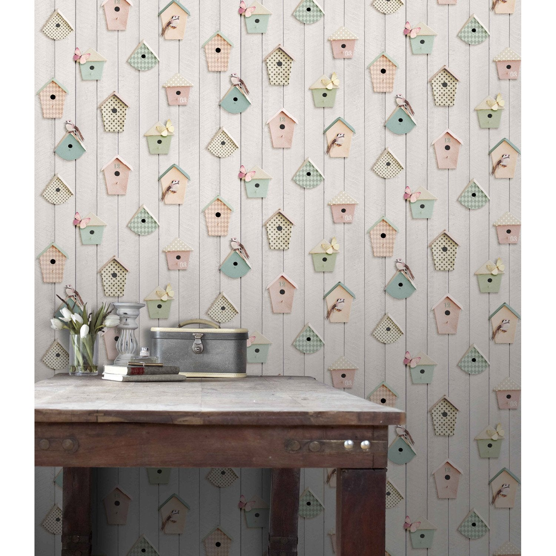 Papier peint papier nichoirs multicouleur leroy merlin - Produit pour decoller papier peint ...