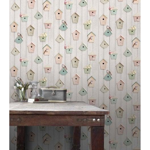 papier peint papier nichoirs multicolor | leroy merlin
