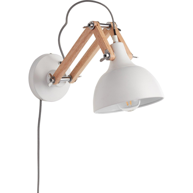 applique scandinave e27 dexter m tal blanc 1 leroy merlin. Black Bedroom Furniture Sets. Home Design Ideas