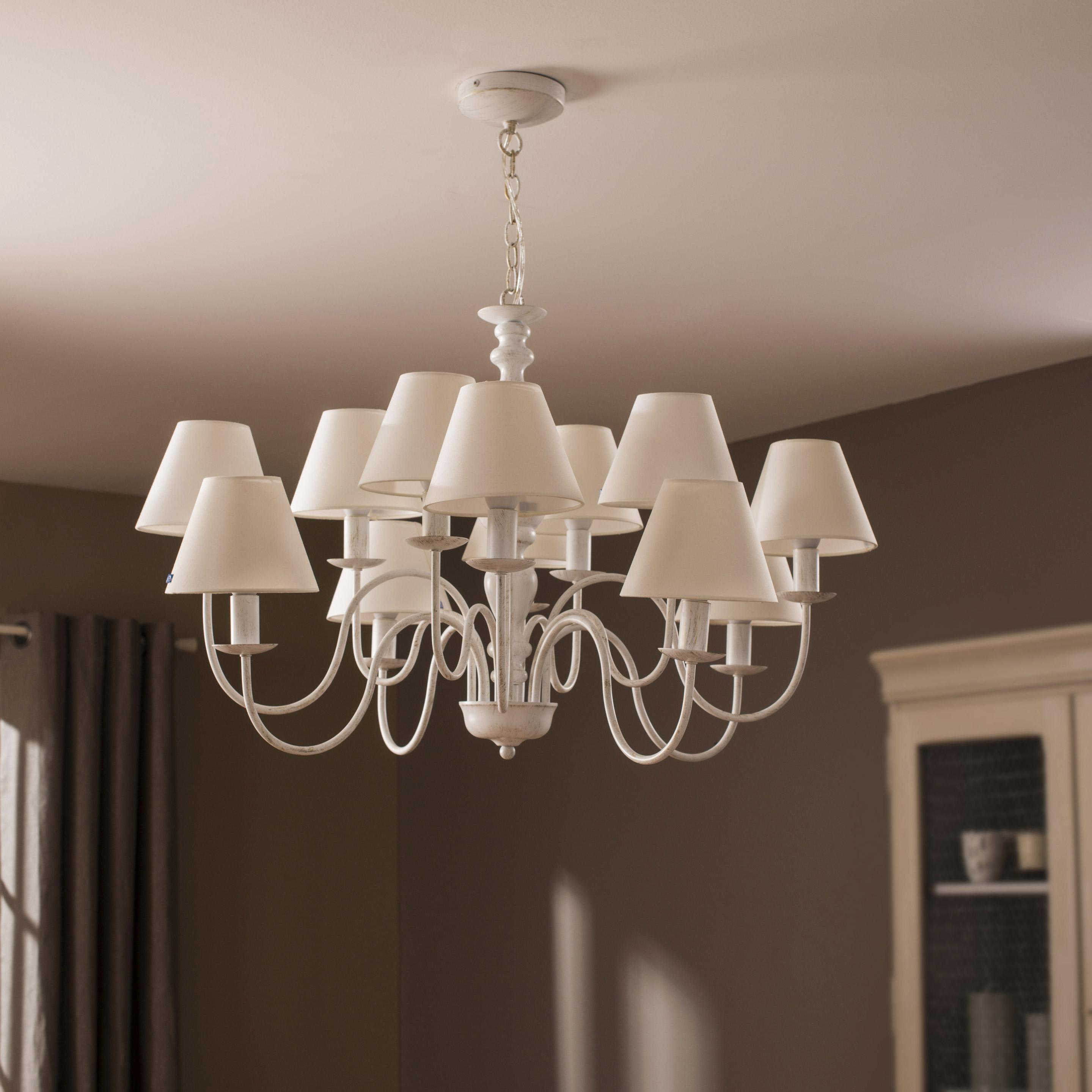Lustre, classique métal blanc LUCIDE Campagne 12 lumière(s)