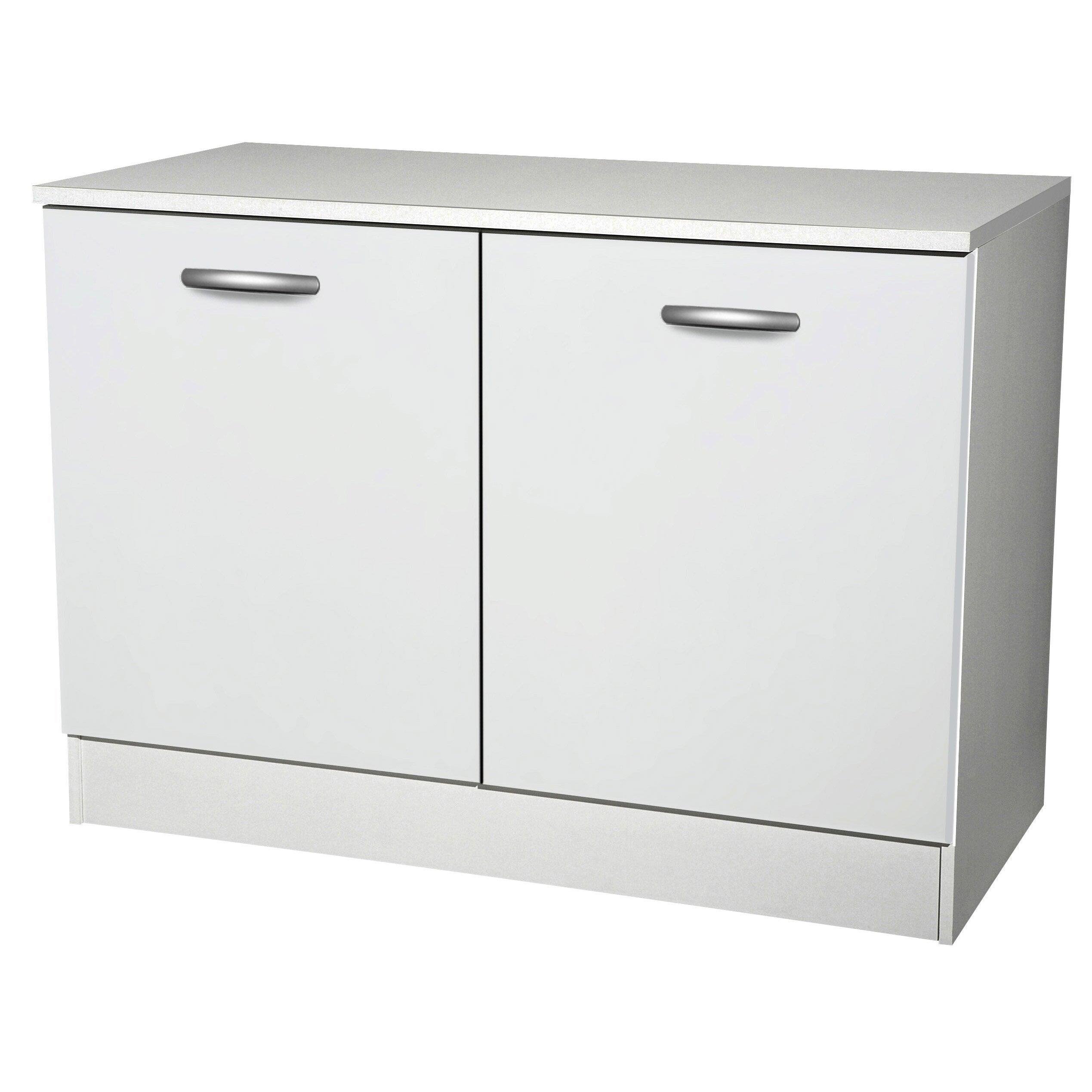 Meuble Bas De Rangement Pour Cuisine meuble de cuisine bas 2 portes, blanc, h86x l120x p60cm