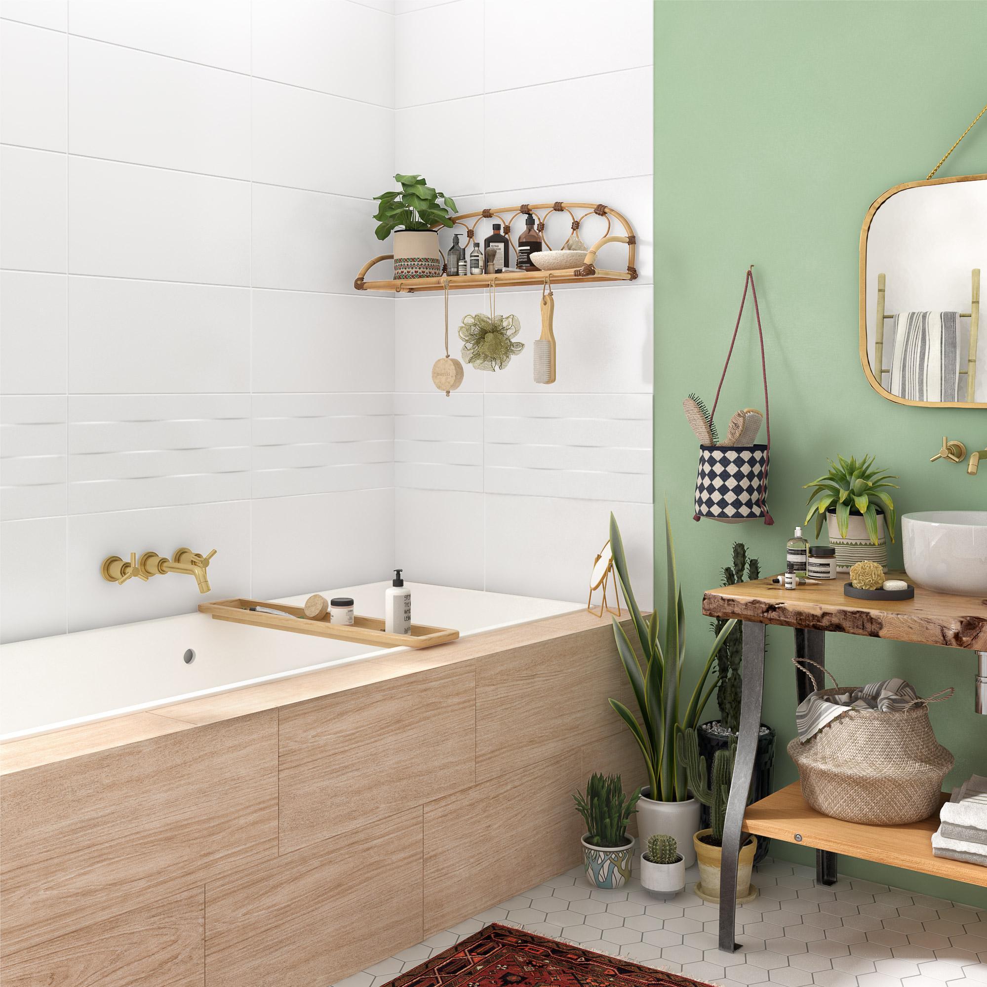 Carrelage sol et mur intenso effet bois beige Remix l.30 x L.60 cm ARTENS