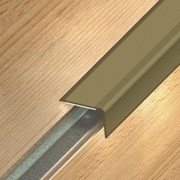 Nez de marche aluminium anodisé gris L.110 x l.3.6 cm
