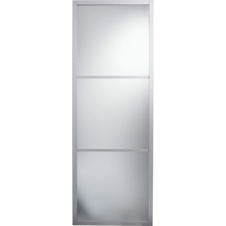Porte Coulissante Aluminium Gris Aspen ARTENS H X L Cm - Porte coulissante 93 cm