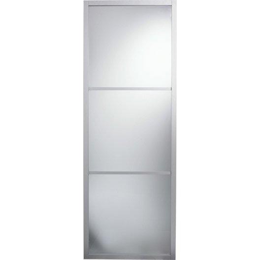 Porte coulissante aluminium gris aspen artens x cm leroy merlin - Porte coulissante verre trempe leroy merlin ...