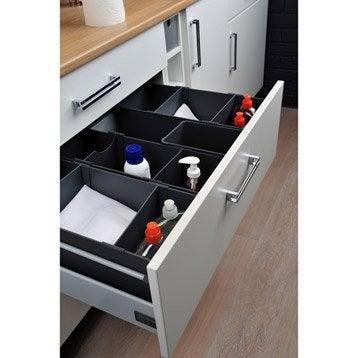 Accessoires int rieurs de tiroir poubelle tabouret et for Evier noir 80 cm