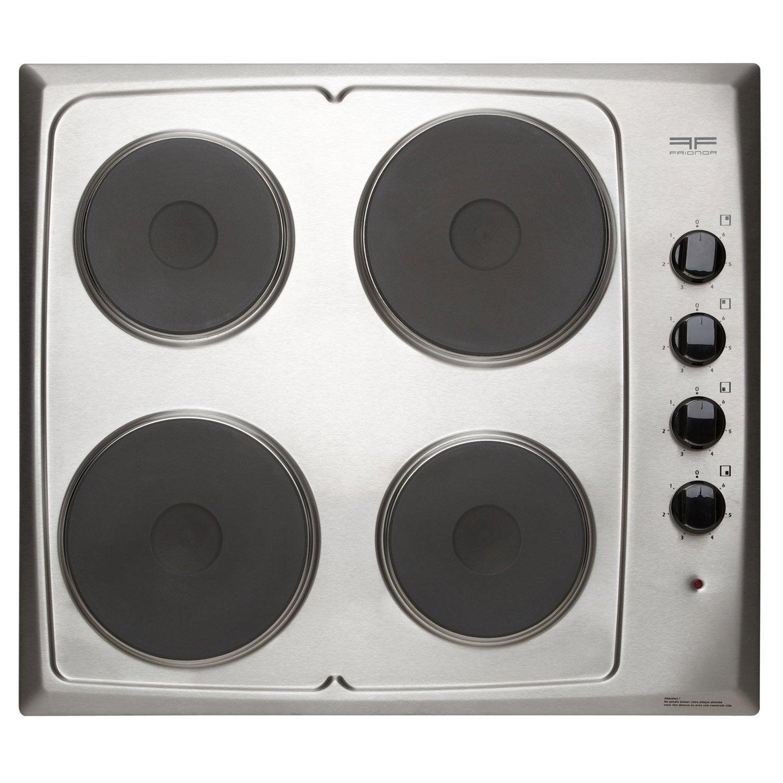 Table De Cuisson Gaz Et Electricite plaque de cuisson électrique 4 foyers, argent, frionor geinfri