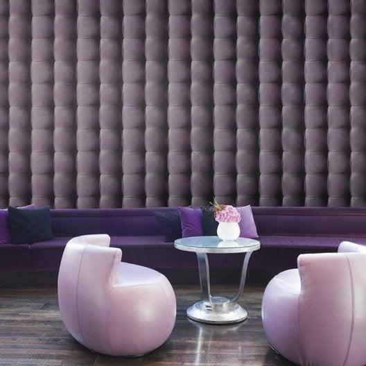 Papier peint intiss capiton cuir violet leroy merlin for Papier peint aspect cuir
