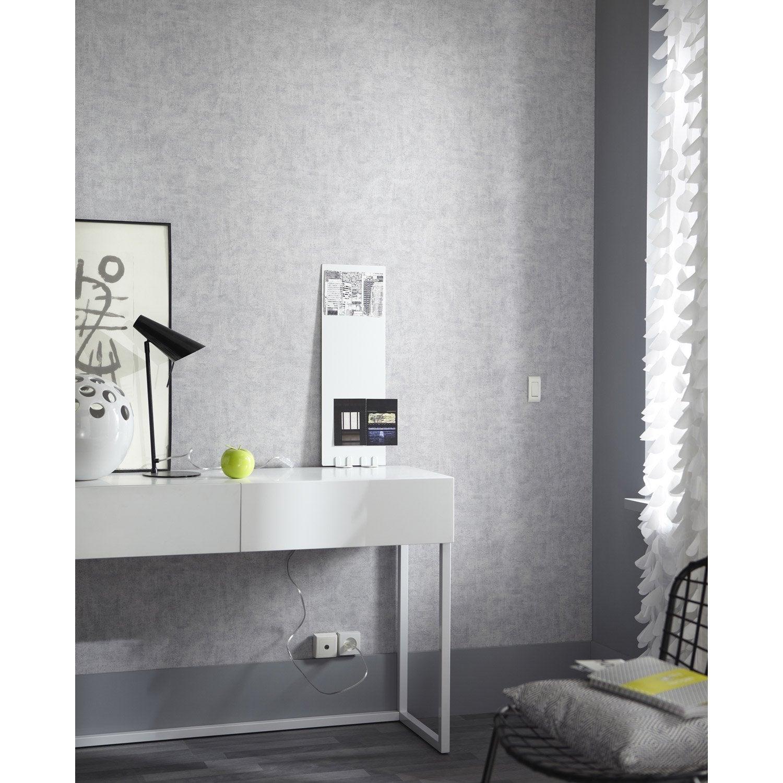Papier peint intiss patine gris leroy merlin - Produit pour decoller papier peint ...