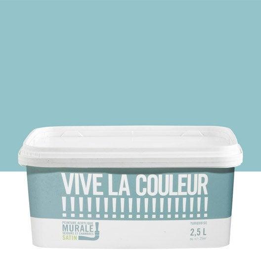 peinture murale vive la couleur bleu turquoise 2 5 l leroy merlin. Black Bedroom Furniture Sets. Home Design Ideas