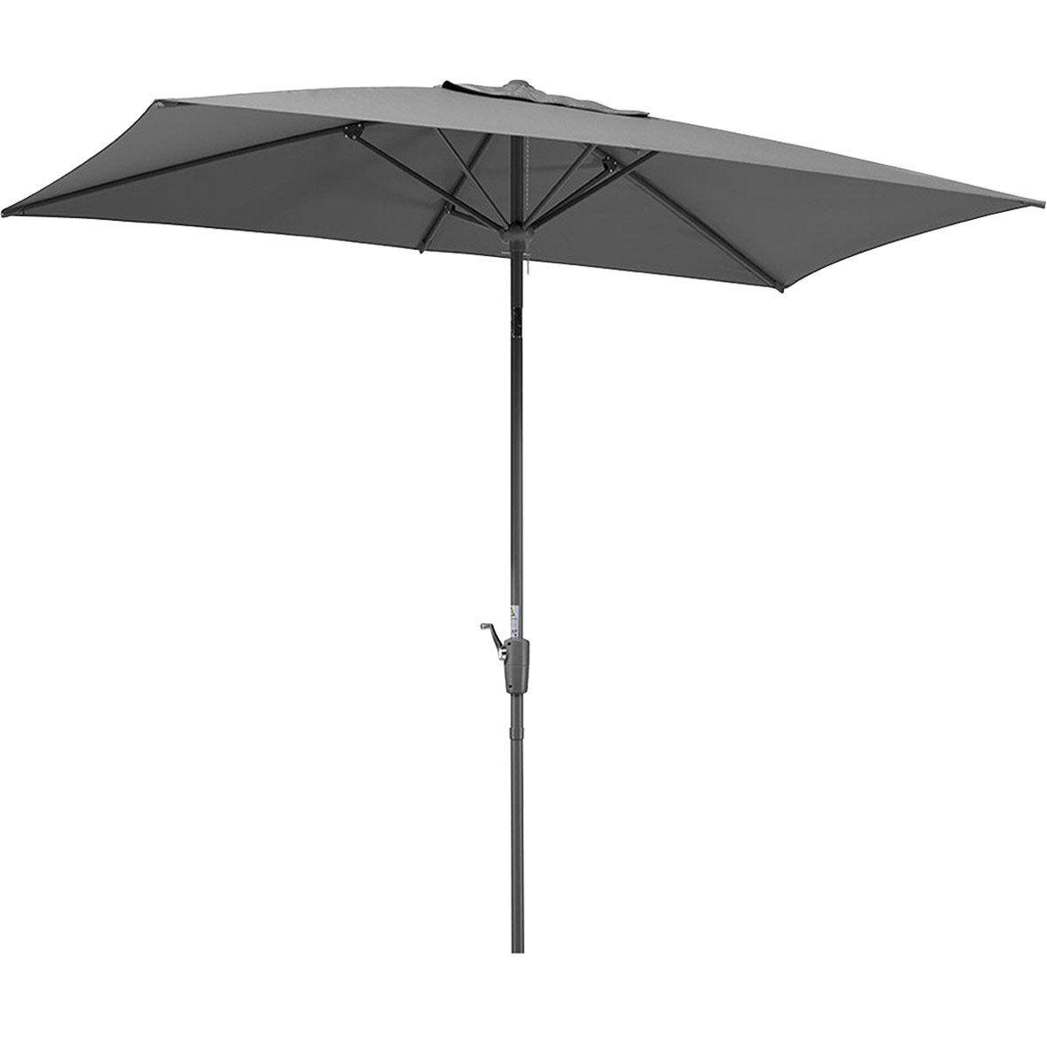 Parasol droit Tunis anthracite rectangulaire, L.270 x l.150 cm