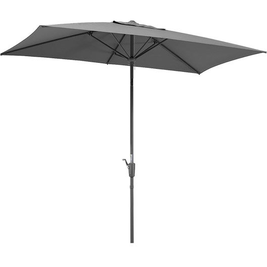 Parasol droit tunis anthracite rectangulaire x l - Parasol deporte inclinable leroy merlin ...