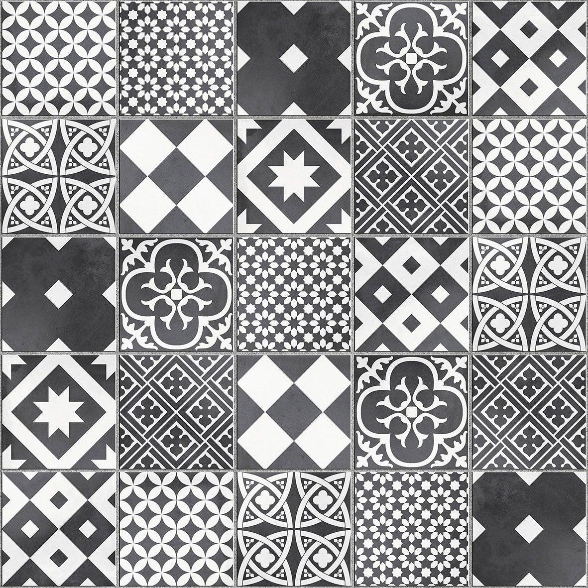 Mosaïque sol et mur Gatsby décor noir et blanc 6.17 x 6.17 cm ...