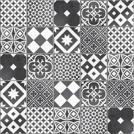 Mosaïque sol et mur Gatsby décor noir et blanc | Leroy Merlin