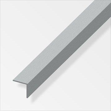 Cornière égale aluminium brossé, L.2.5 m x l.2.5 cm x H.2.5 cm