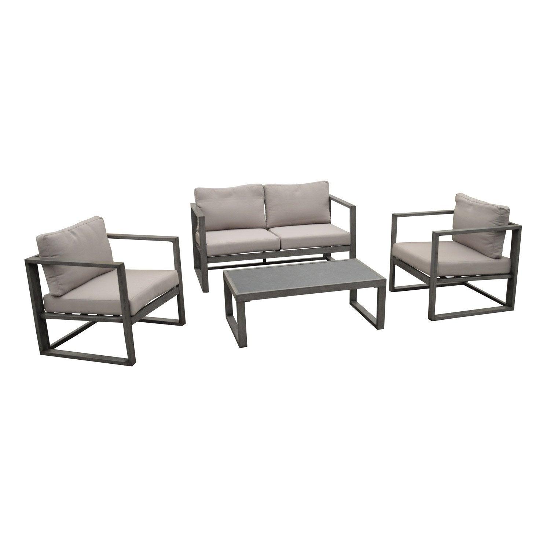 Salon bas de jardin Antibes aluminium gris, 4 personnes | Leroy Merlin