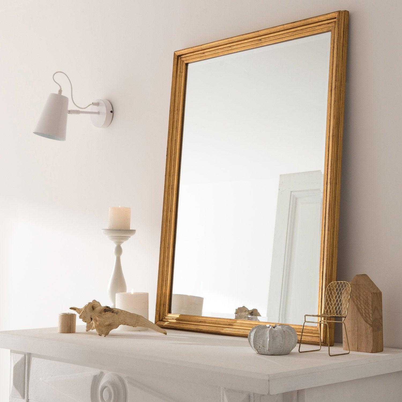 Miroir rectangulaire Manon, doré, l.60 x H.80 cm