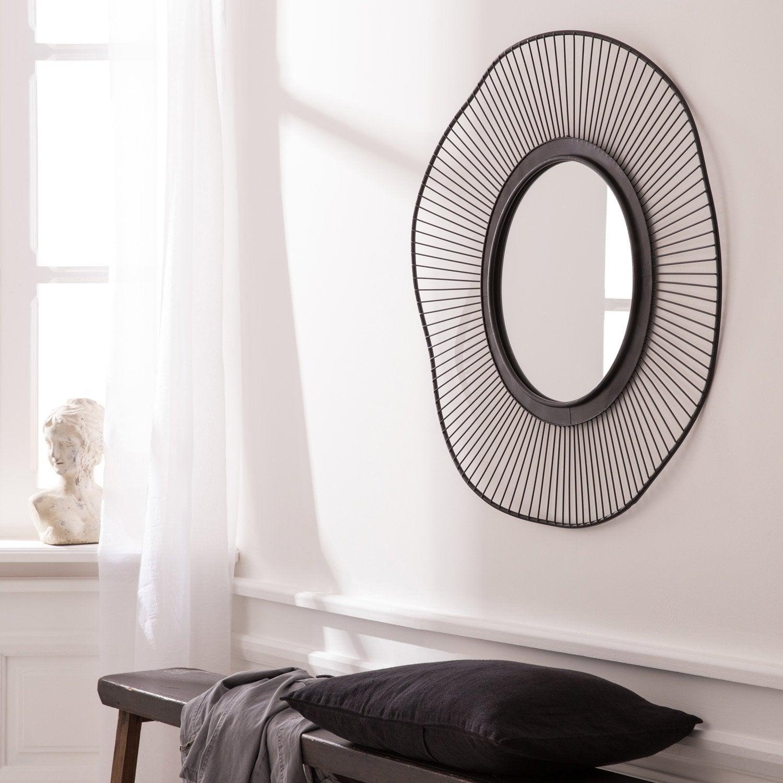 Miroir Ondulation, noir, l.85 x H.85 cm