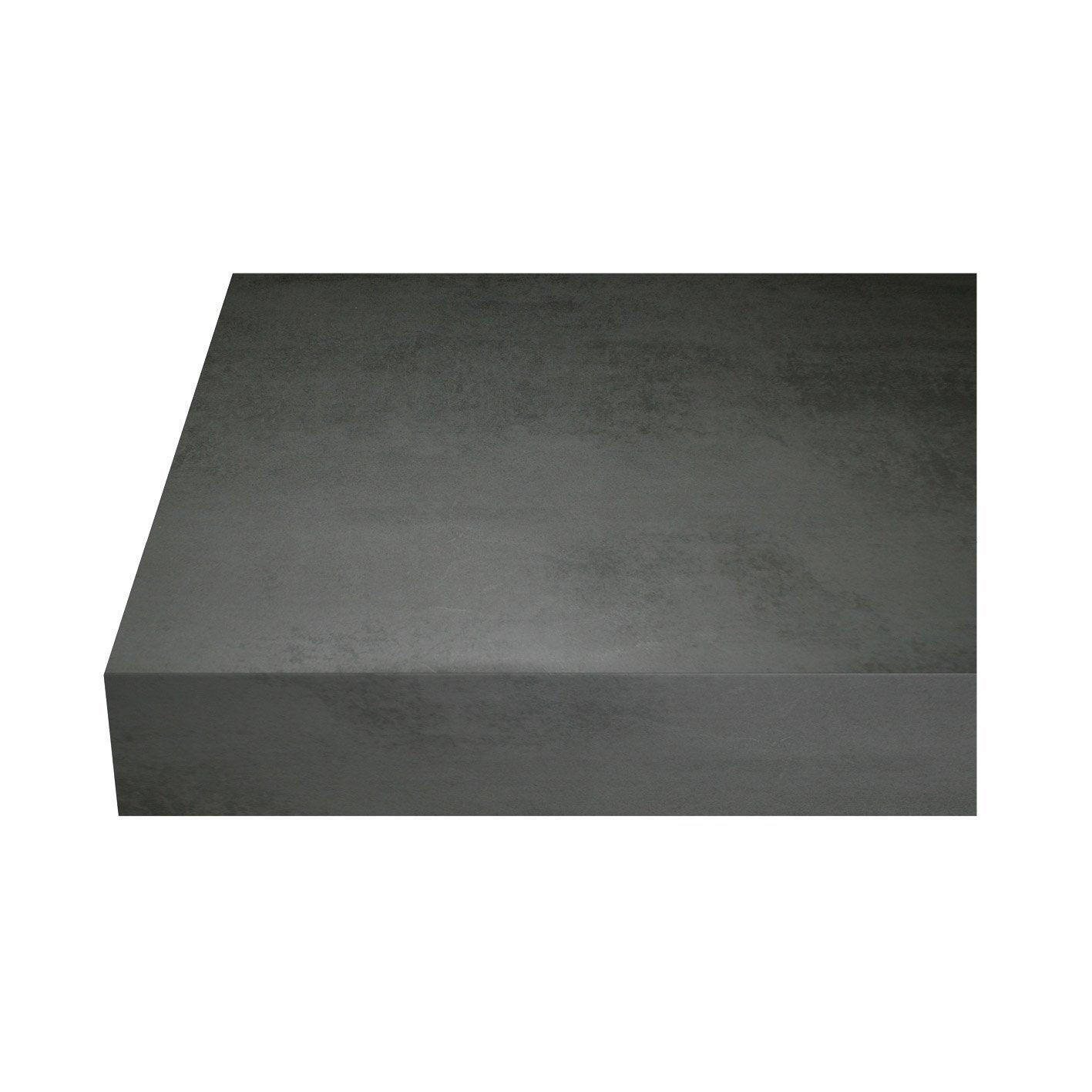 Plan de travail stratifié Beton cire fonce Mat L.315 x P.65 cm, Ep.38 mm