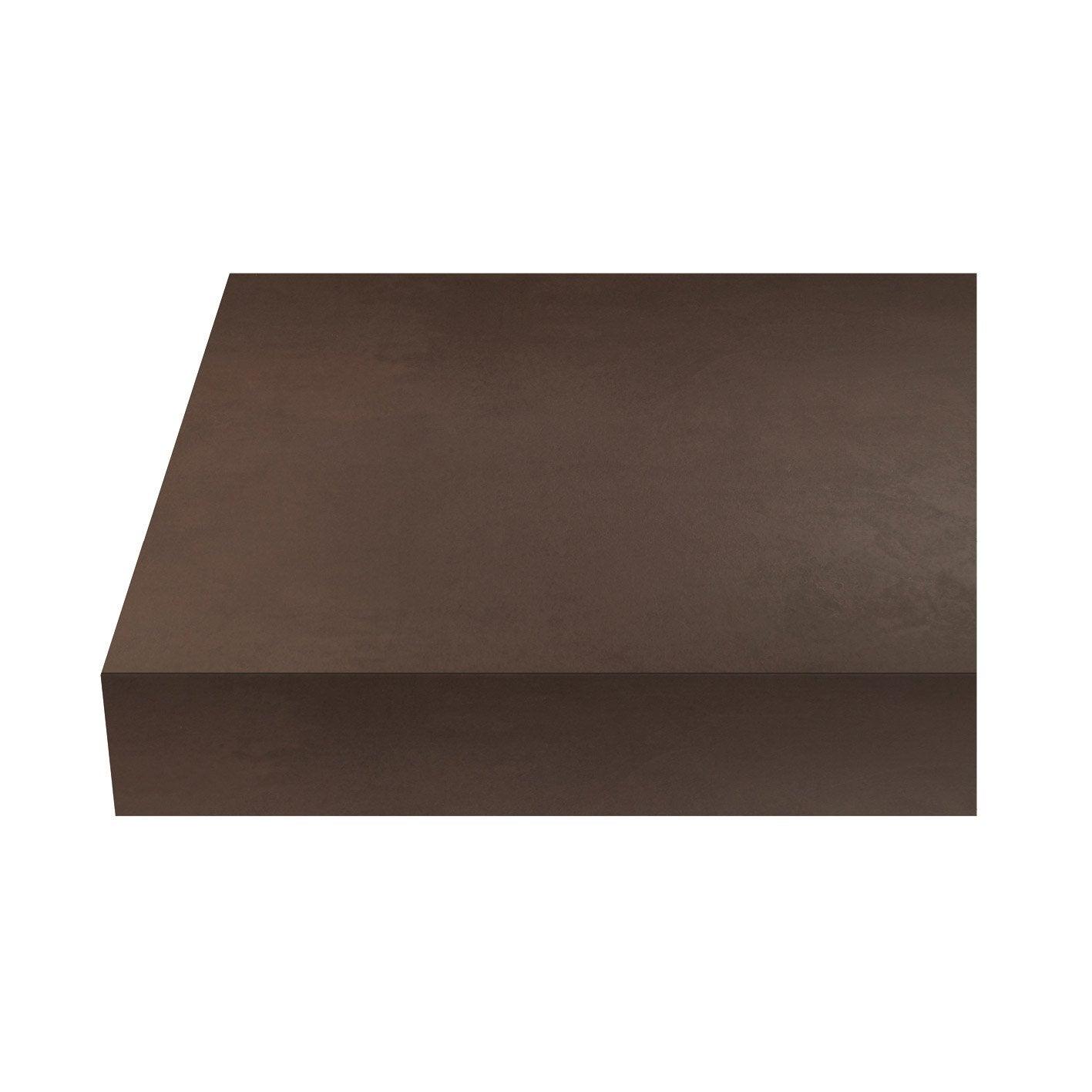 Plan de travail stratifié Beton cire marron Mat L.315 x P.65 cm, Ep.38 mm