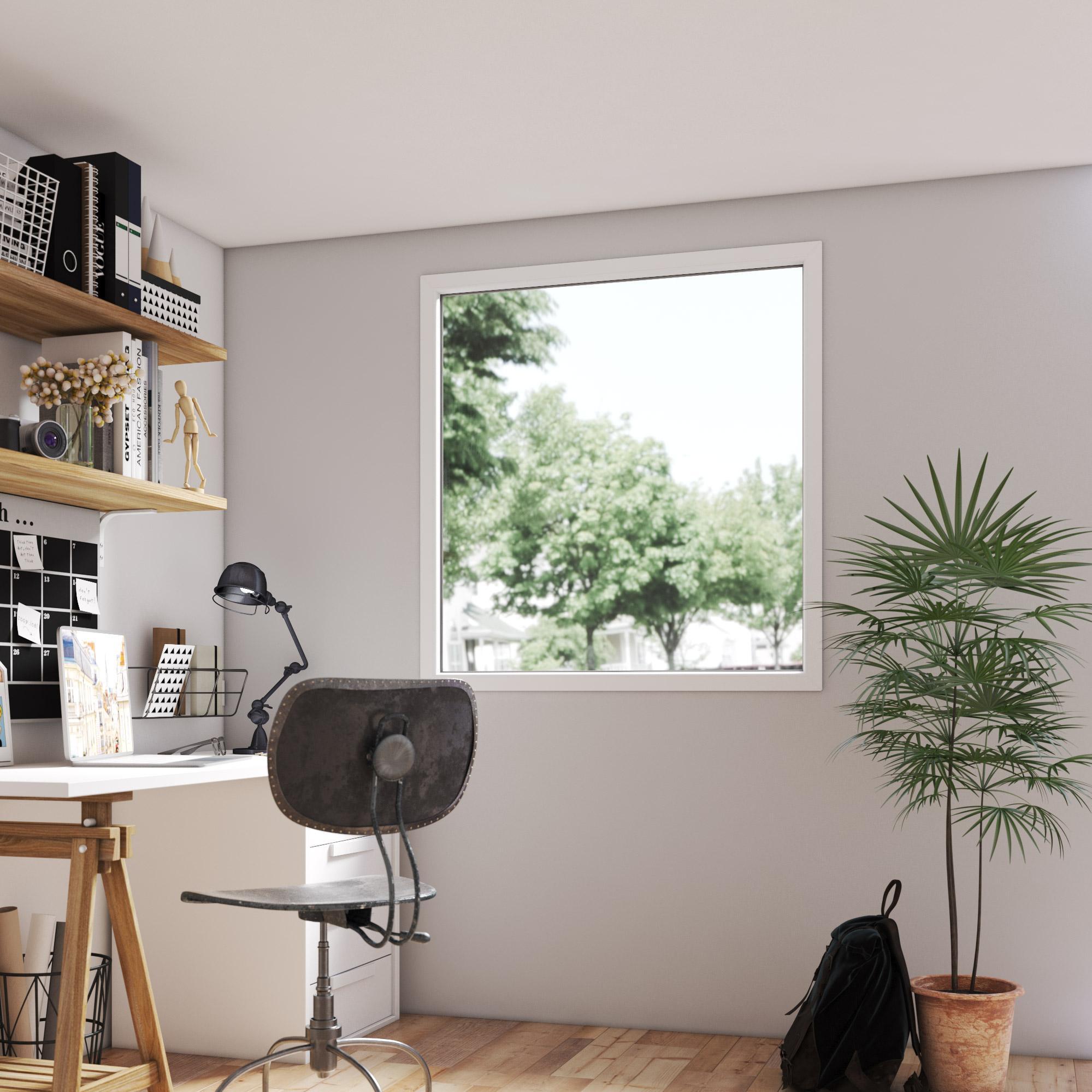 fenêtre pvc h115 x l120 cm blanc  blanc 1 vantail