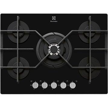 Plaque de cuisson gaz 5 foyers, noir, ELECTROLUX EGT7353YOK