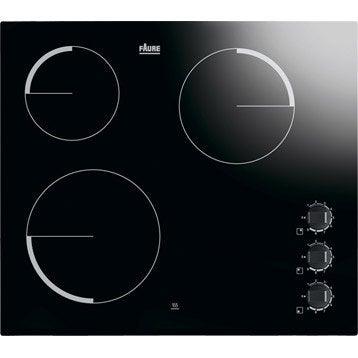 Plaque vitroc ramique faure fev6130fba 3 foyers - Plaque de cuisson gaz leroy merlin ...
