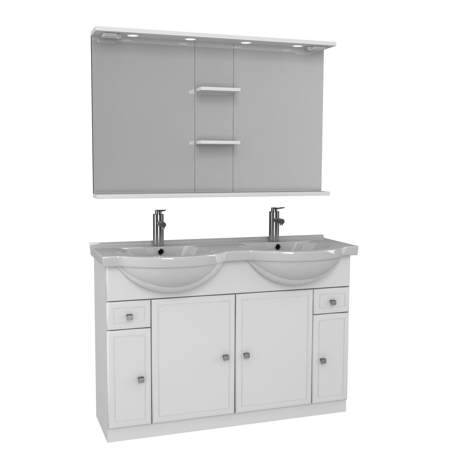 Meuble vasque 125 cm blanc galice leroy merlin for Ensemble lavabo meuble leroy merlin