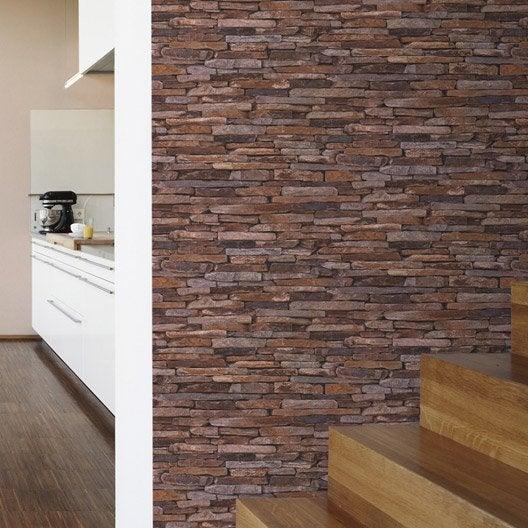 papier peint intiss pierres plates multicouleur leroy merlin. Black Bedroom Furniture Sets. Home Design Ideas