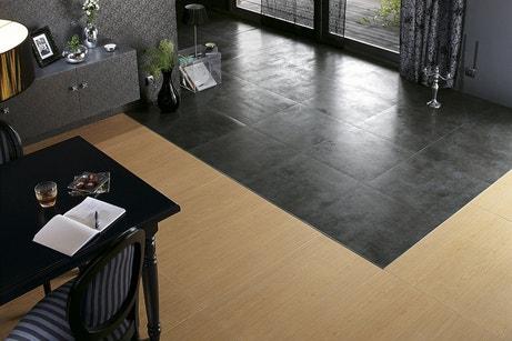 Un carrelage carré noir avec parquet pour salon Chic