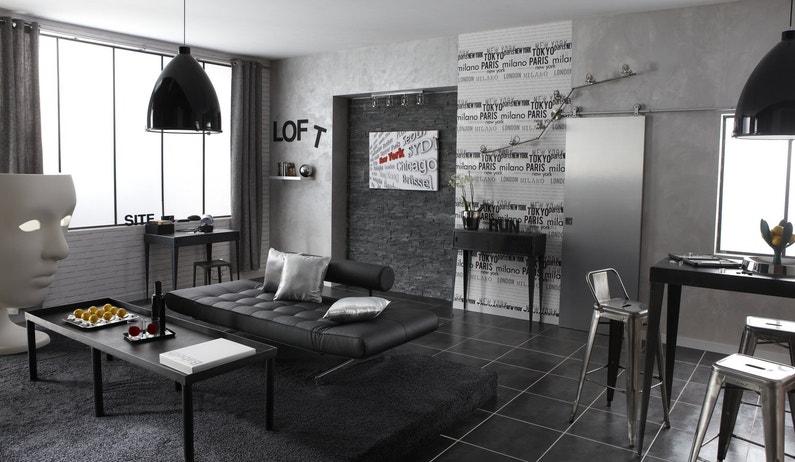 Le salon s 39 inspire de la ville leroy merlin - Peinture industrie leroy merlin ...