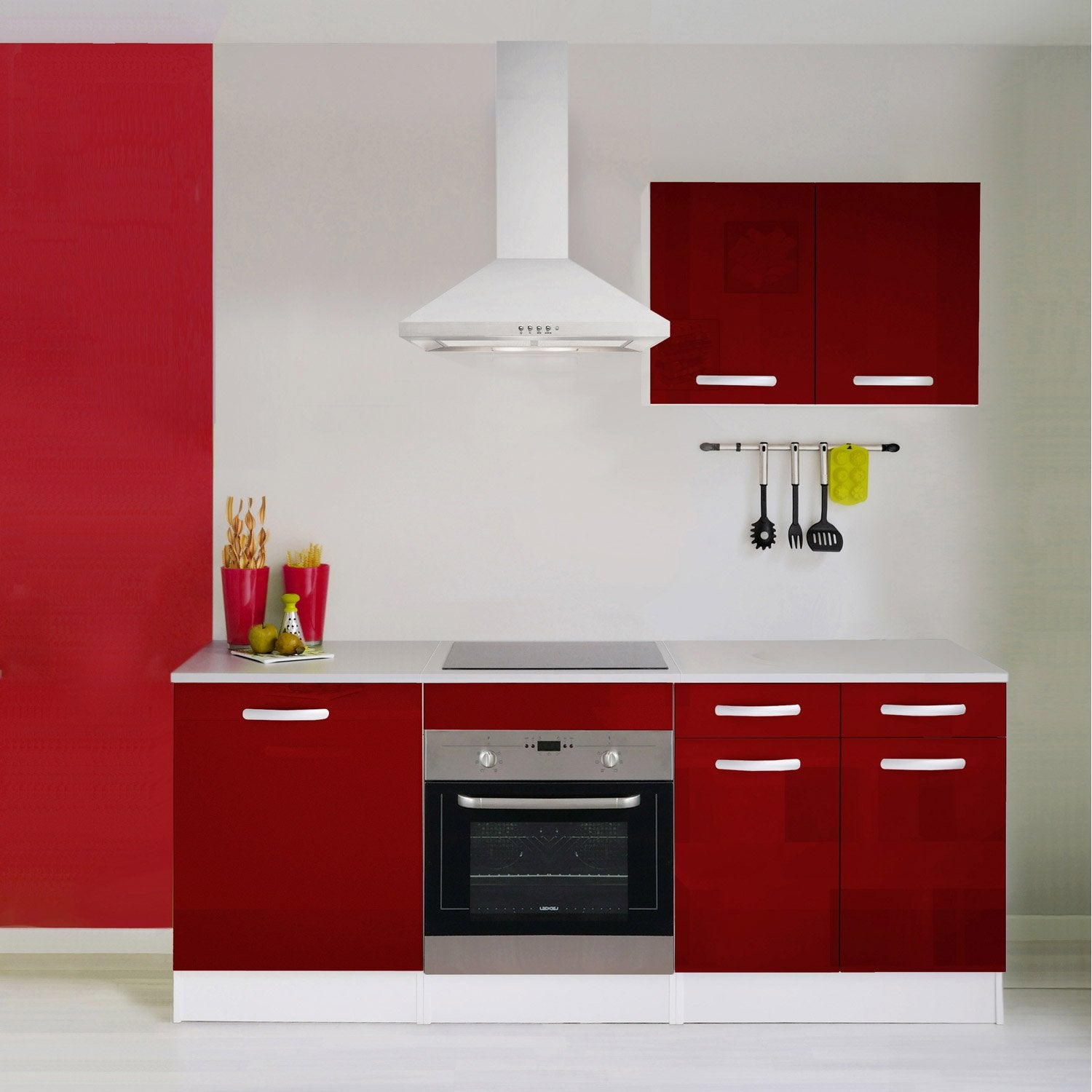 Meuble de cuisine rouge brillant leroy merlin for Element cuisine noir