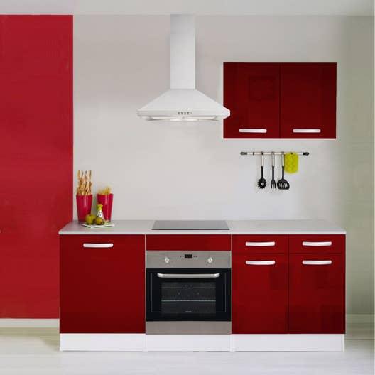 Meuble de cuisine rouge brillant leroy merlin - Avis cuisine leroy merlin ...
