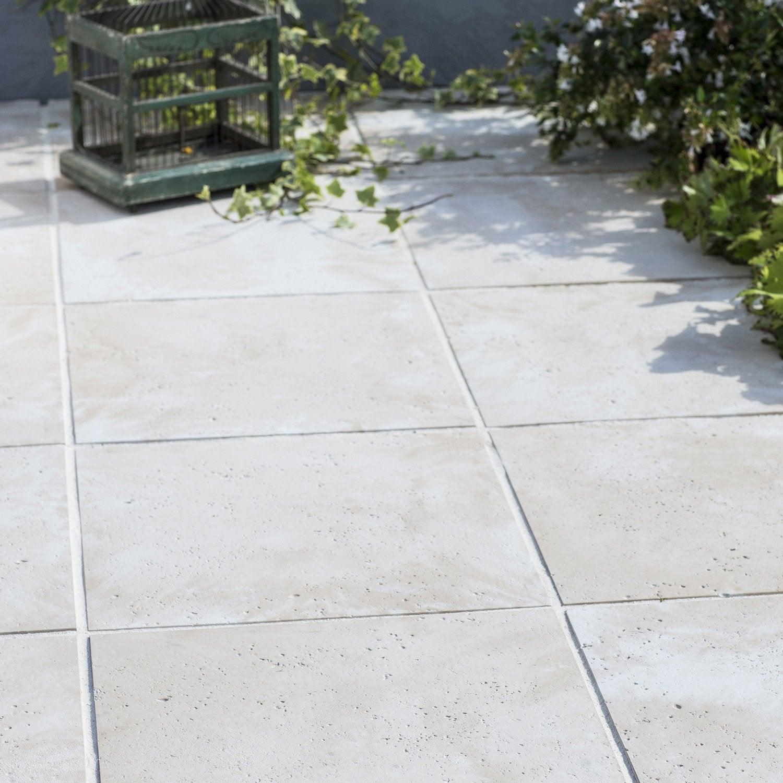 Dalle pierre reconstituée Kairouan, beige, L.40 x l.40 cm x Ep.40 ... - Pierre Reconstituée Terrasse